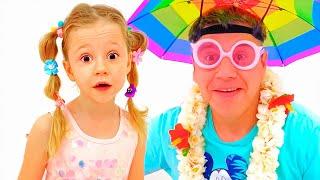 Nastya y papá van al mar en vacaciones de verano