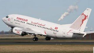 أقلاع رائع لطائرةالخطوط التونسية من مطار تونس قرطاج الدولي