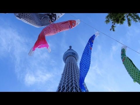 Carp-shaped Windsocks In Tokyo For Children's Day