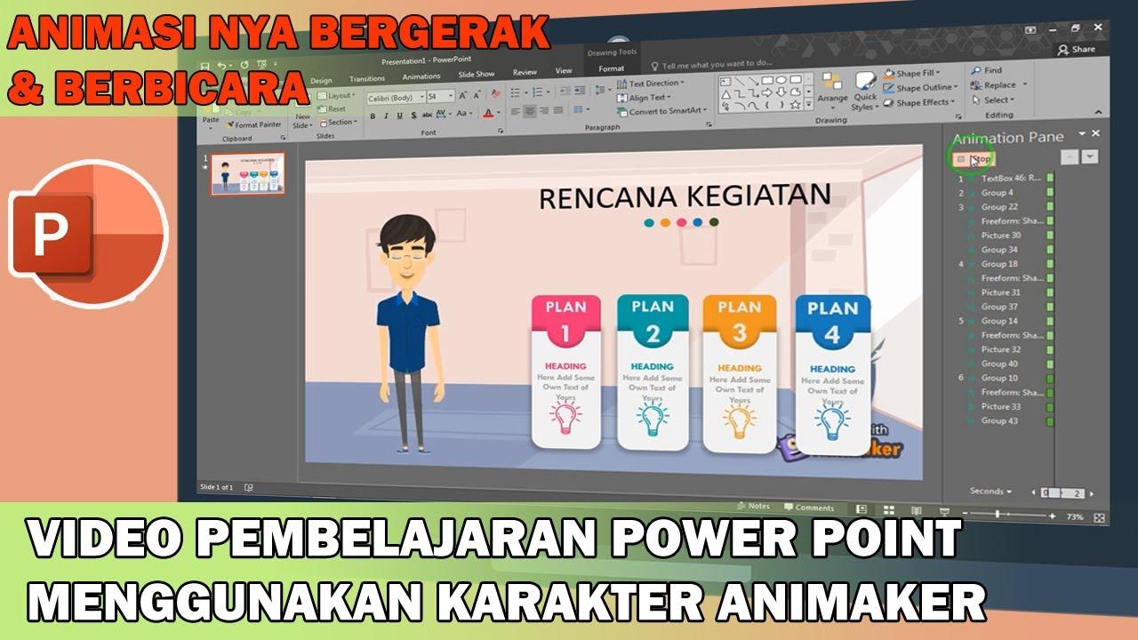 Cara Membuat Video Pembelajaran Animasi Di Power Point Menggunakan Karakter Animaker Youtube
