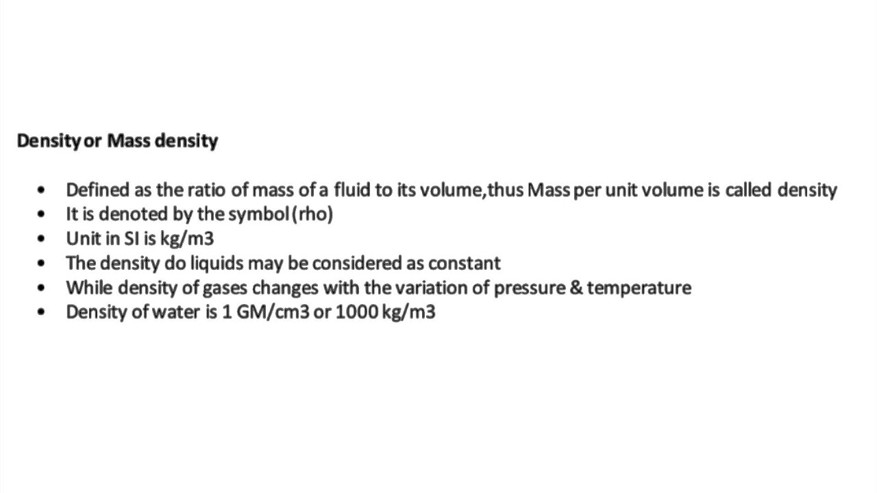 What is density or mass density in fluid mechanics youtube what is density or mass density in fluid mechanics biocorpaavc Choice Image