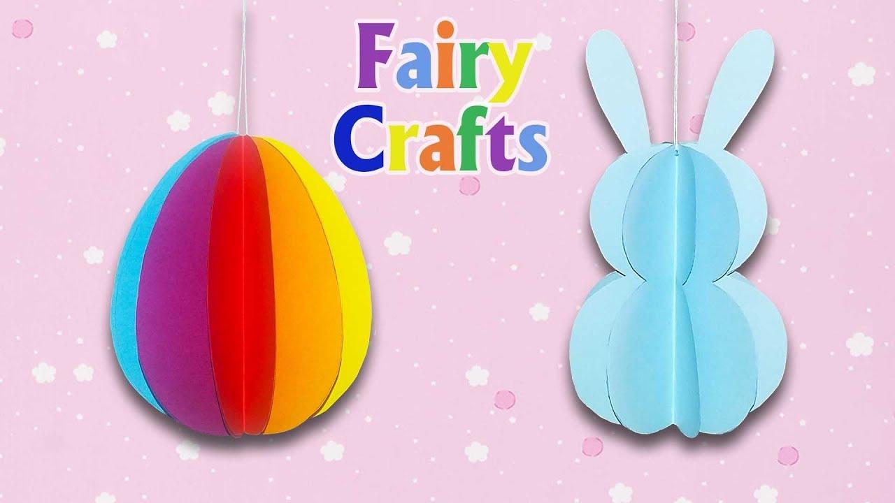 Как сделать пасхальное яйцо и зайца/кролика из цветной бумаги своими руками | Поделки на Пасху