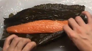 일본식 연어 숙성회 : 연어 곤부지메 - 다시마에 숙성…