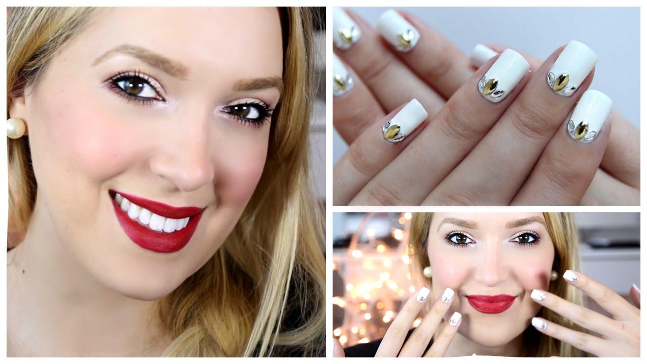 Drugstore Holiday Makeup And Nail Art! | MissJenFABULOUS - YouTube