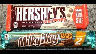 Hershey's Milk Chocolate & Whoppers and Salted Caramel Milky Way Bar Review