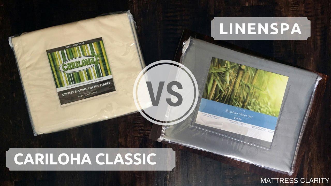 bamboo bed sheets cariloha classic vs linenspa