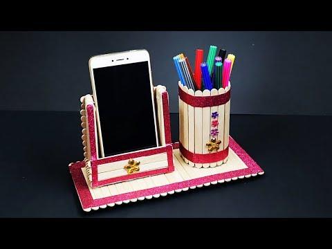 DIY Pen Stand and Mobile Phone Holder With Icecream Sticks   Icecream Stick Craft