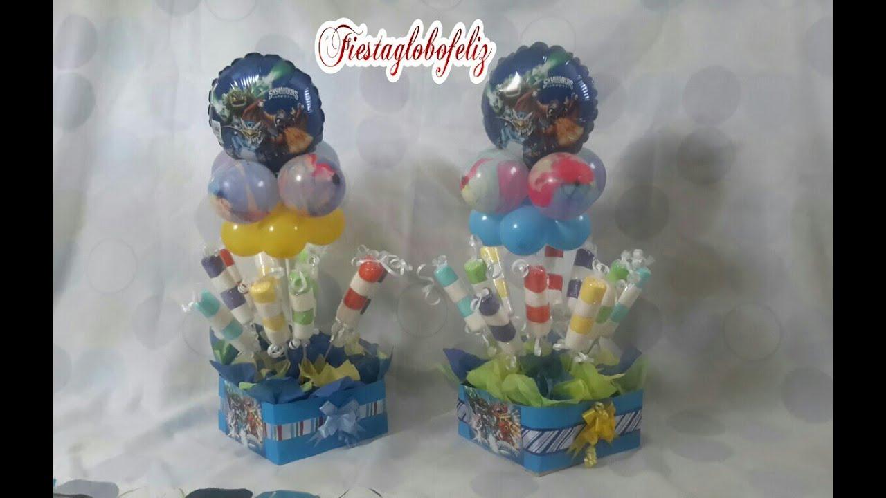 como hacer un centro de mesa de skylanders con globos centerpiece of skylanders with balloons youtube
