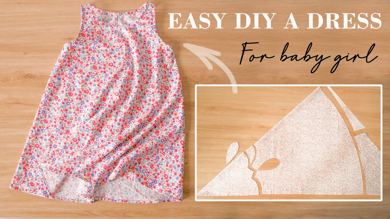 How To Make A Dress For Girl With Only One Side-Seam | Easy DIY Baby Dress