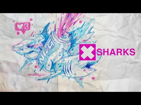 Sharks. Freehand Drawing Speedart