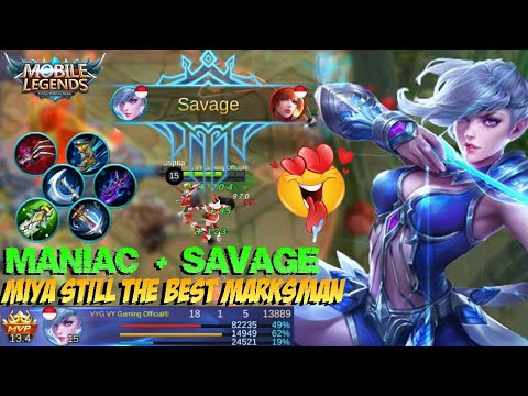 SAVAGE + MANIAC!!! MIYA Still the Best Marksman | Gameplay & Build - Mobile Legends Patch 2.08