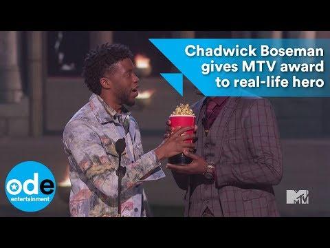 Chadwick Boseman gives MTV award to real-life hero