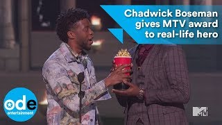 Chadwick Boseman gives MTV award to real-life hero