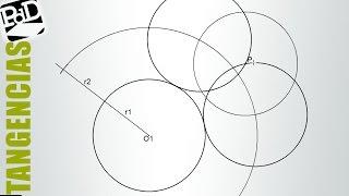 Circunferencia tangente exterior a otra, conocido el radio y un punto de ella.