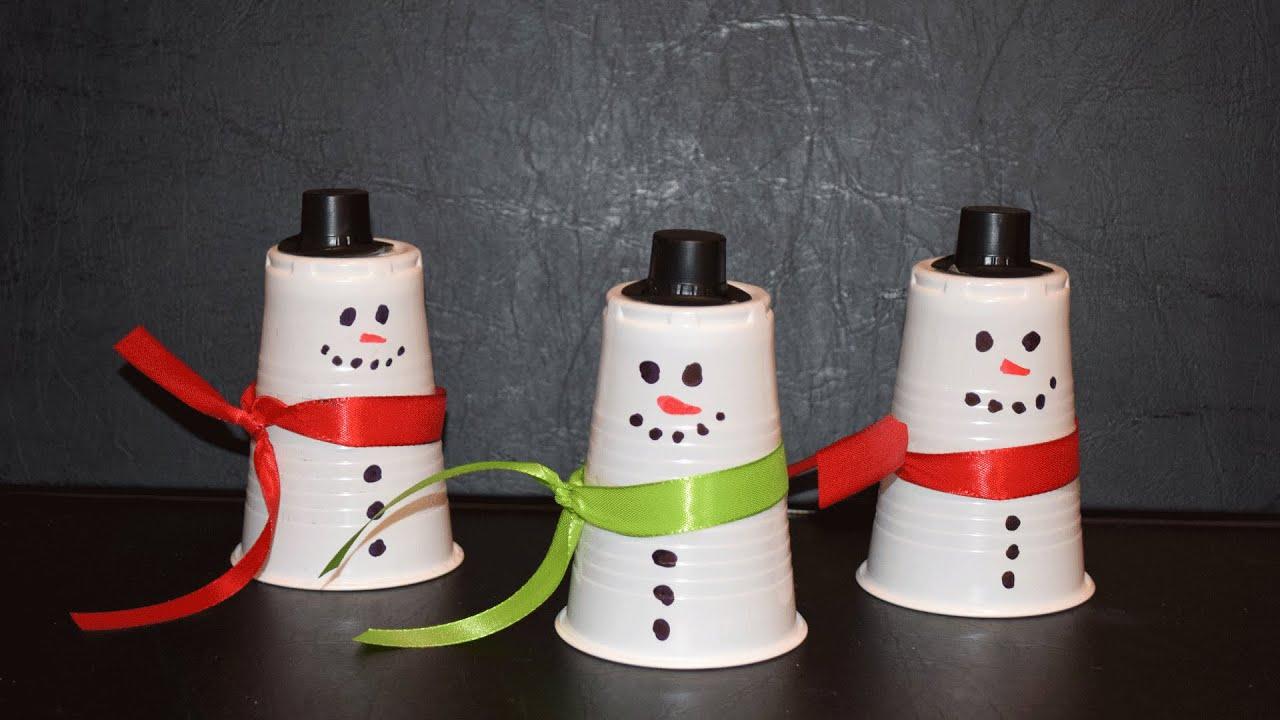 Sehr Schneemann aus Pappbechern - YouTube AH91