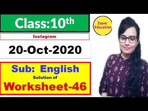 Class 10 worksheet 46 English : 20 Oct 2020 : english worksheet 46 : doe worksheet 46 english