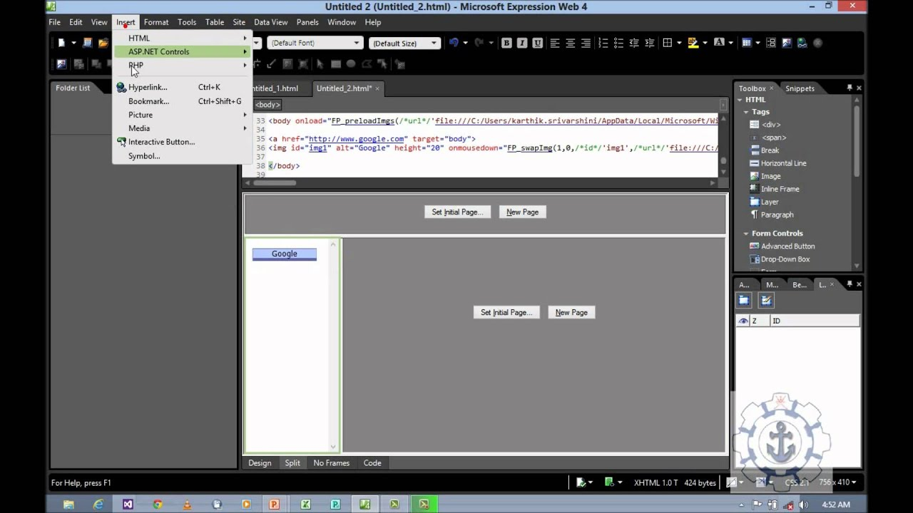 working with Frames and interactive buttons in Microsoft Expression ...