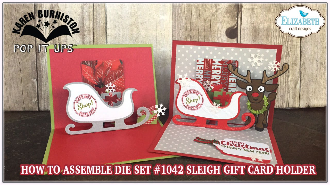 pop it ups sleigh gift card holder die assembly - Photo Holder Christmas Cards