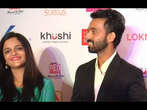 Ajinkya Rahane With His Wife At Style Icon Of Maharashtra Lokmat Awards 2016