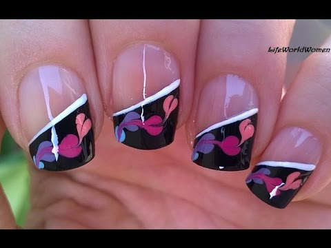 SIDE FRENCH MANICURE With Needle Nail Art / Paint By NON ...
