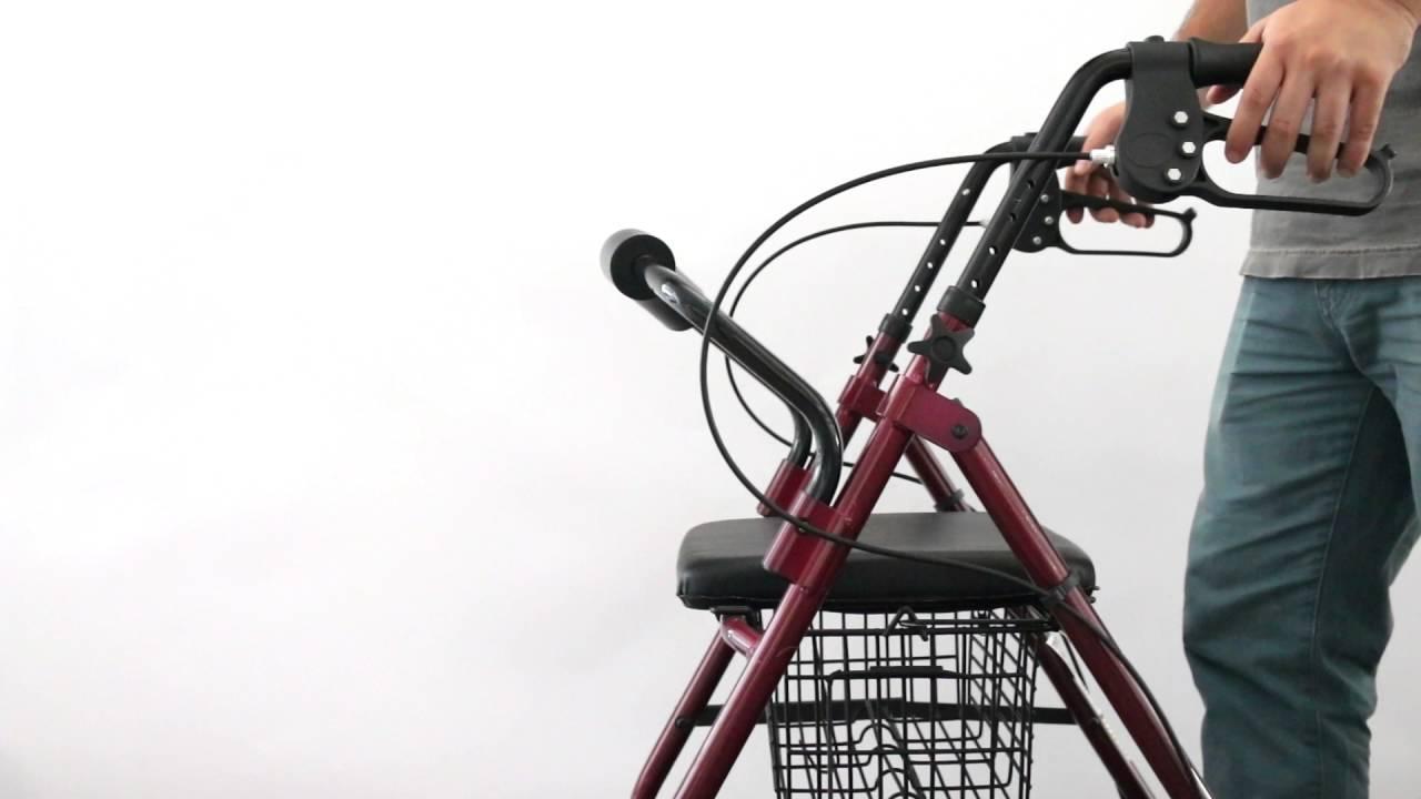 andador de aluminio con frenos asiento cesta y respaldo - YouTube