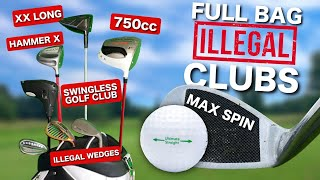 Full bag of ILLEGAL GOLF CLUBS & BALL!