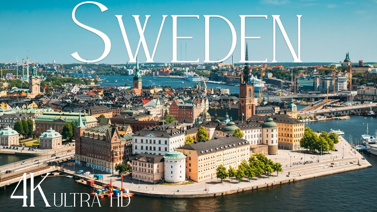 Download Sweden 4K • Beautiful Nature of Stockholm & Ristafallet Waterfall with Relaxing Music