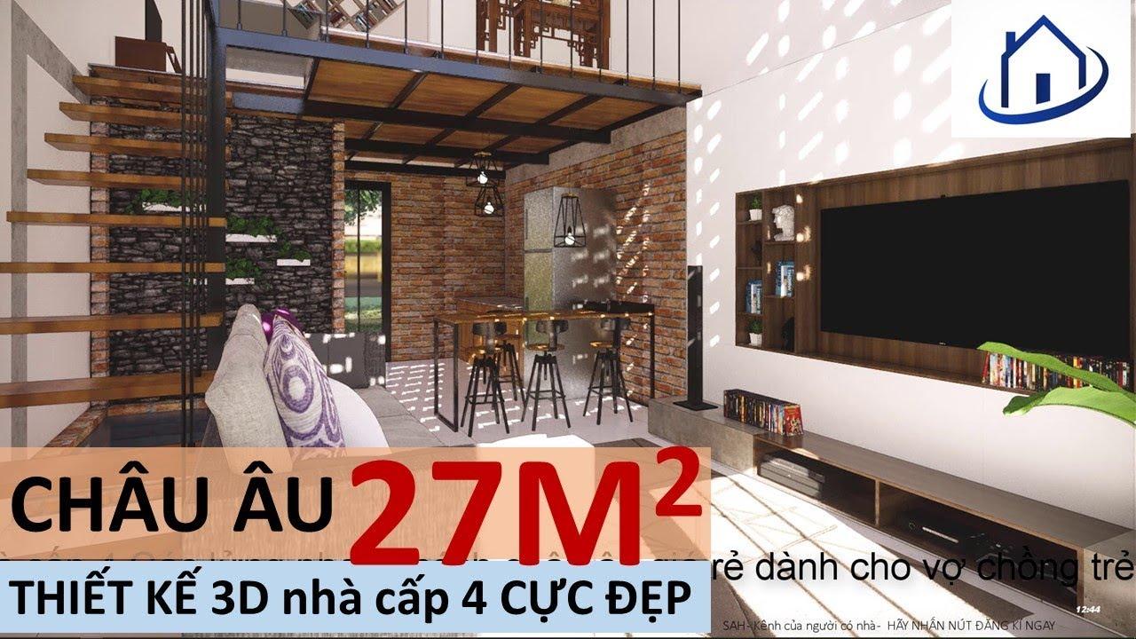 Nhà cấp 4 Dưới 150 triệu đồng Gác lửng Châu ÂU  – thiết kế nhà , Home design 3D