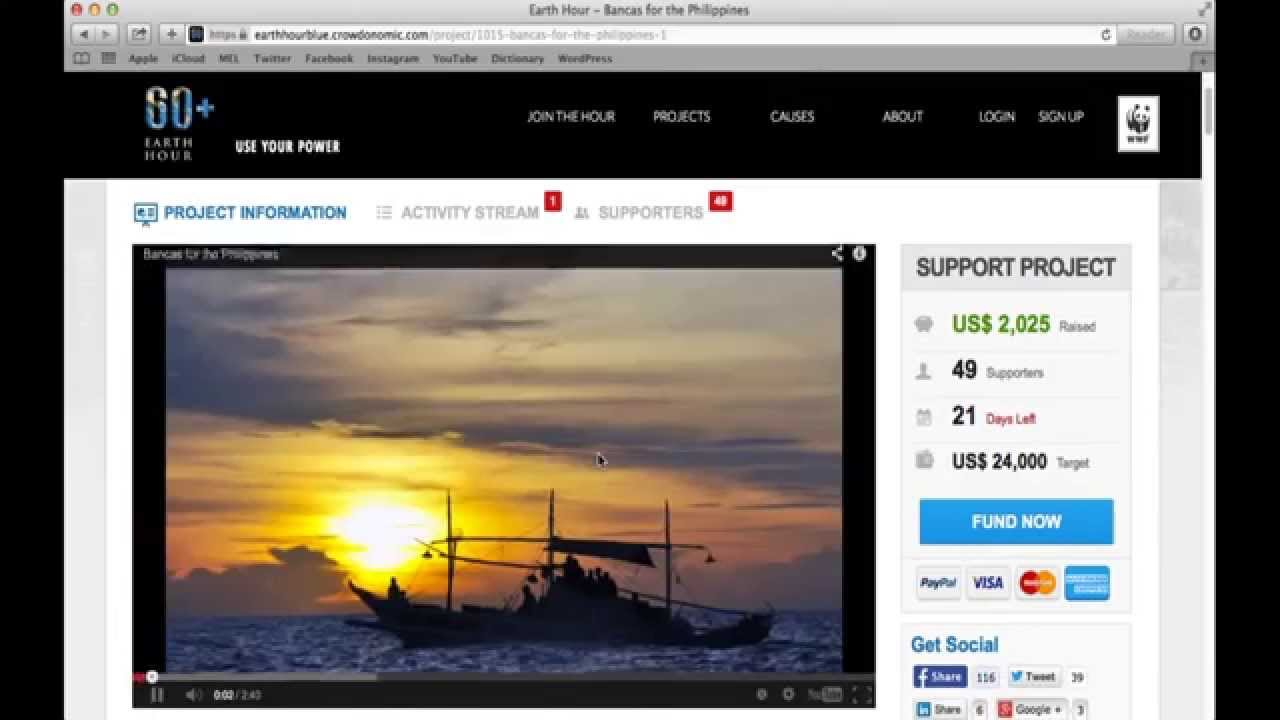 Earth Hour Blue - Crowdfunding Donation Tutorial