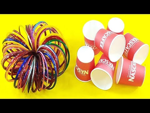 Amazing home decorating idea Out of coffee cups & old bangles | Waste material reuse idea