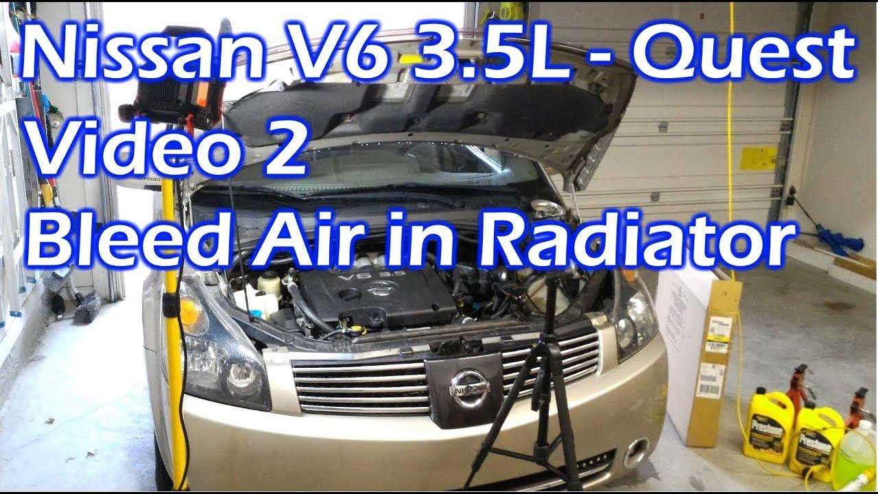 nissan v6 radiator bleed air - video 2 - 2004 quest