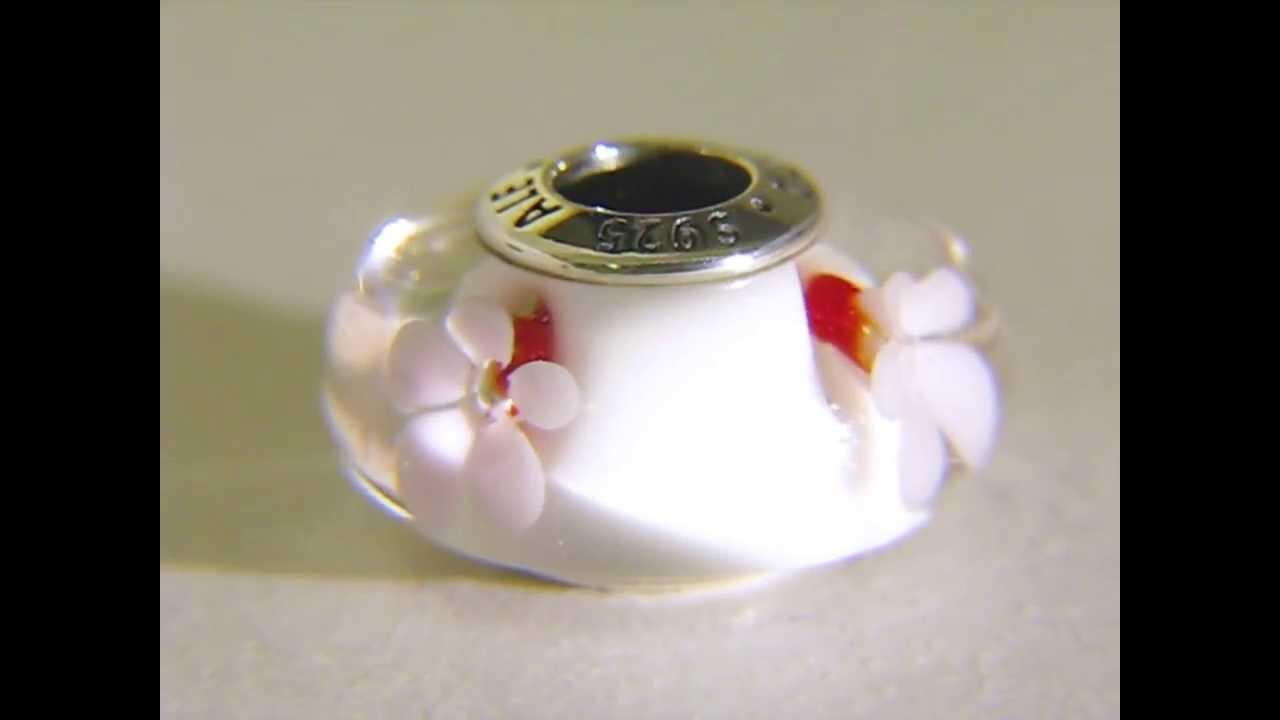 Pandora cherry blossom murano glass charm 790947 youtube sciox Images
