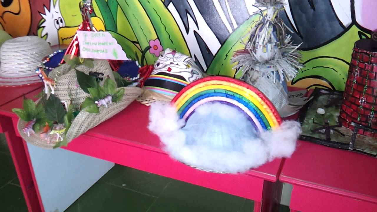 Rainbow Hat For Hat Competition At Lucky's School..