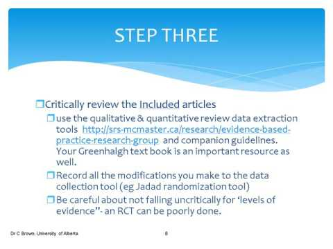 2015 How to use the McMaster data extraction tools for a Critical Review
