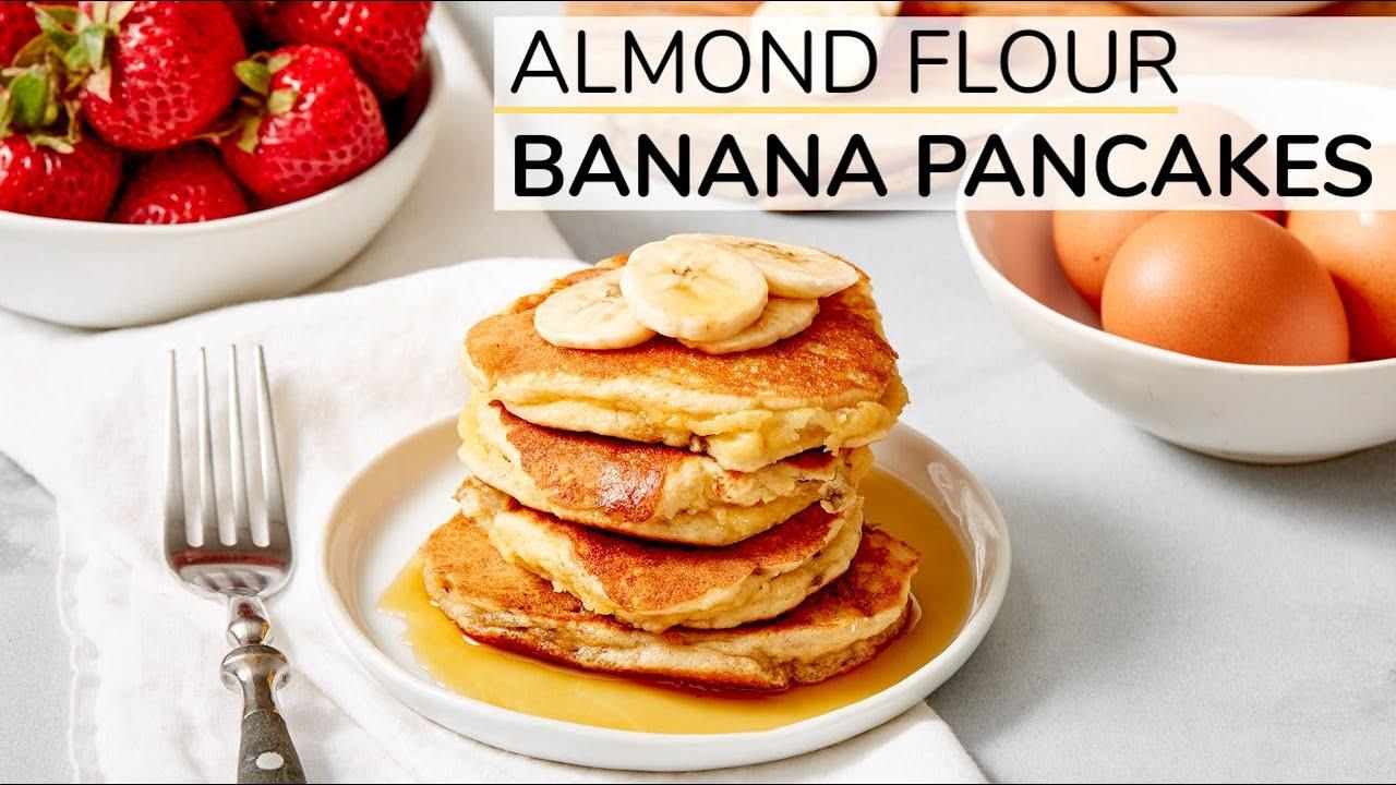 ALMOND FLOUR BANANA PANCAKES   healthy recipe (with Happy Egg)