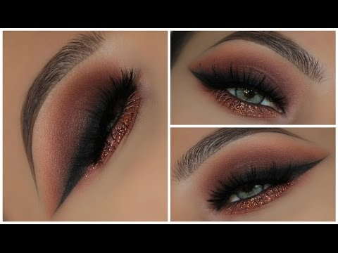 Warm Brown Glitter Smokey Eye