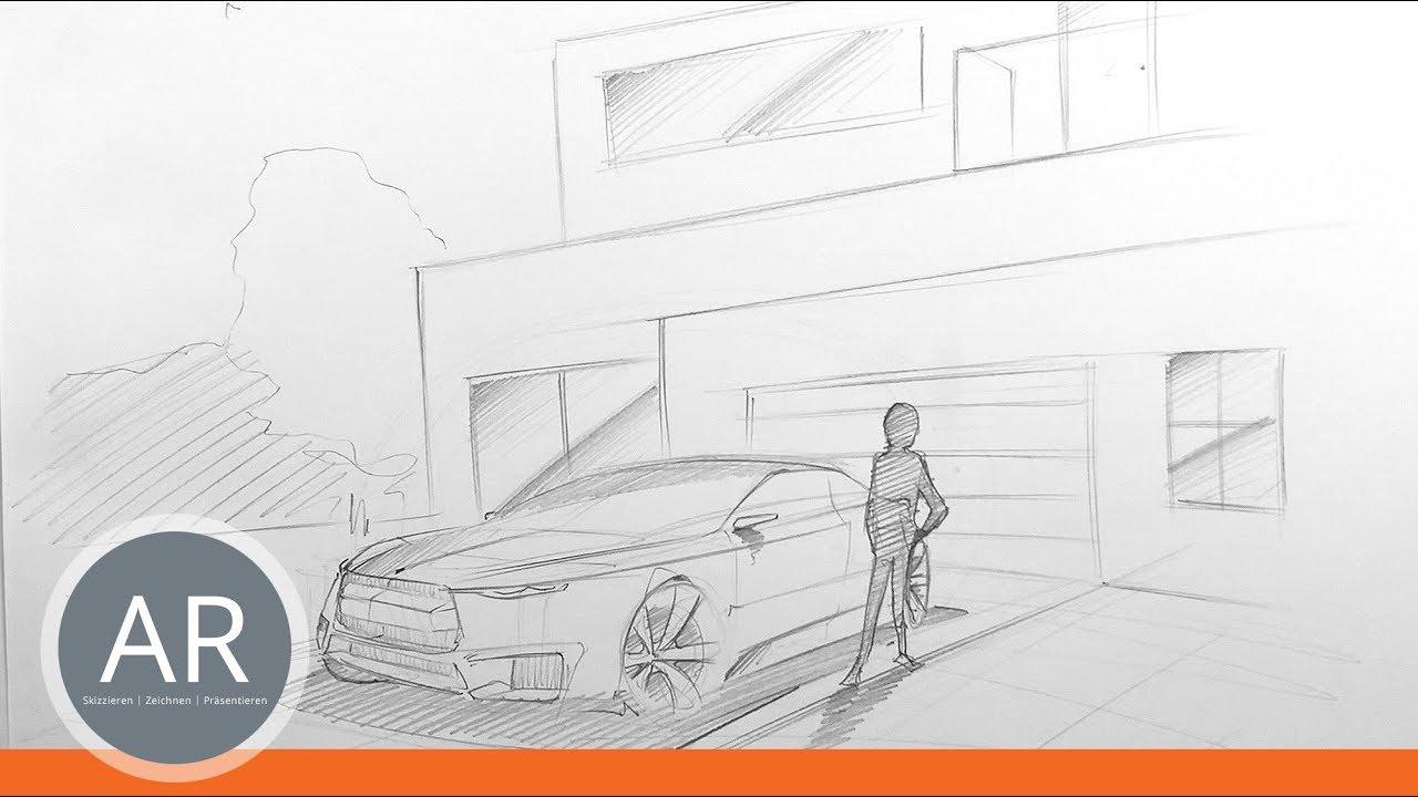 Transportation-Design-Skizzen. Autos im Kontext zeichnen. Mappenkurs ...
