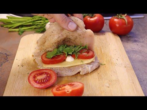 КУРИНОЕ ФИЛЕ с помидорами, сыром и зеленью, в бальзамическом соусе!!! Супер нежное и сочное!