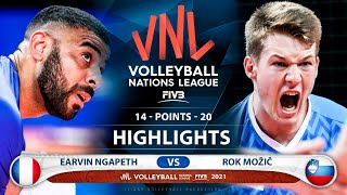 France Vs Slovenia   VNL 2021   Highlights   Earvin Ngapeth Vs Rok Možič
