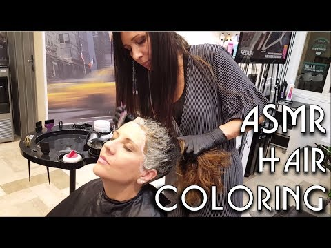 ✂️ Relaxing Hair Coloring at Salon - ASMR no talking - Dying Roots and little Massage