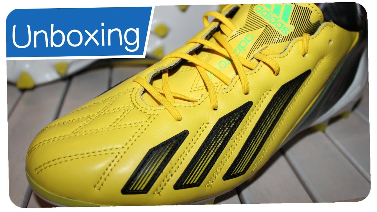Adidas F50 Adizero Leather + Micoach Yellow/White/Black - LIONEL MESSI  Boots - Unboxing - YouTube