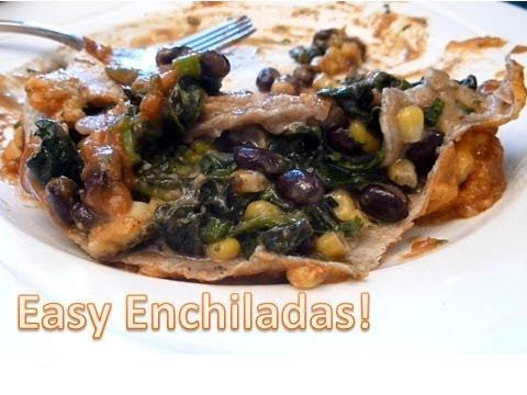 GO MEATLESS!: Black Bean and Spinach enchiladas...easy dinner! :)