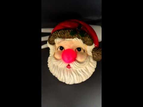 Vintage 60's Santa Musical Door Ringer with Blinking Nose
