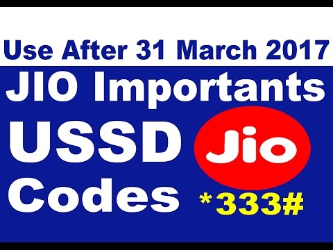 Reliance Jio Importants USSD Codes | Use After 31 March 2017 | For All Jio Users Required Video