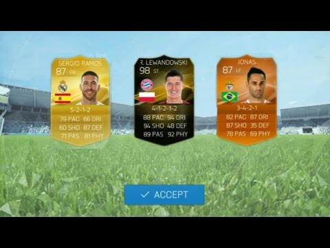 98 lewandowski in a player exchange!!! Best player exchange/pack opening ever! (fifa 16 Android/ios)