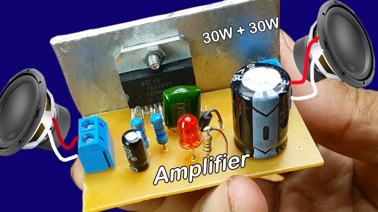 How to make power audio stereo amplifier TDA 7297 30W at home power input DC 12V  YouTube