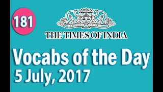 The Times of India Vocabulary (5 July, 2017) - Learn 10 New Words with Tricks | Day-181