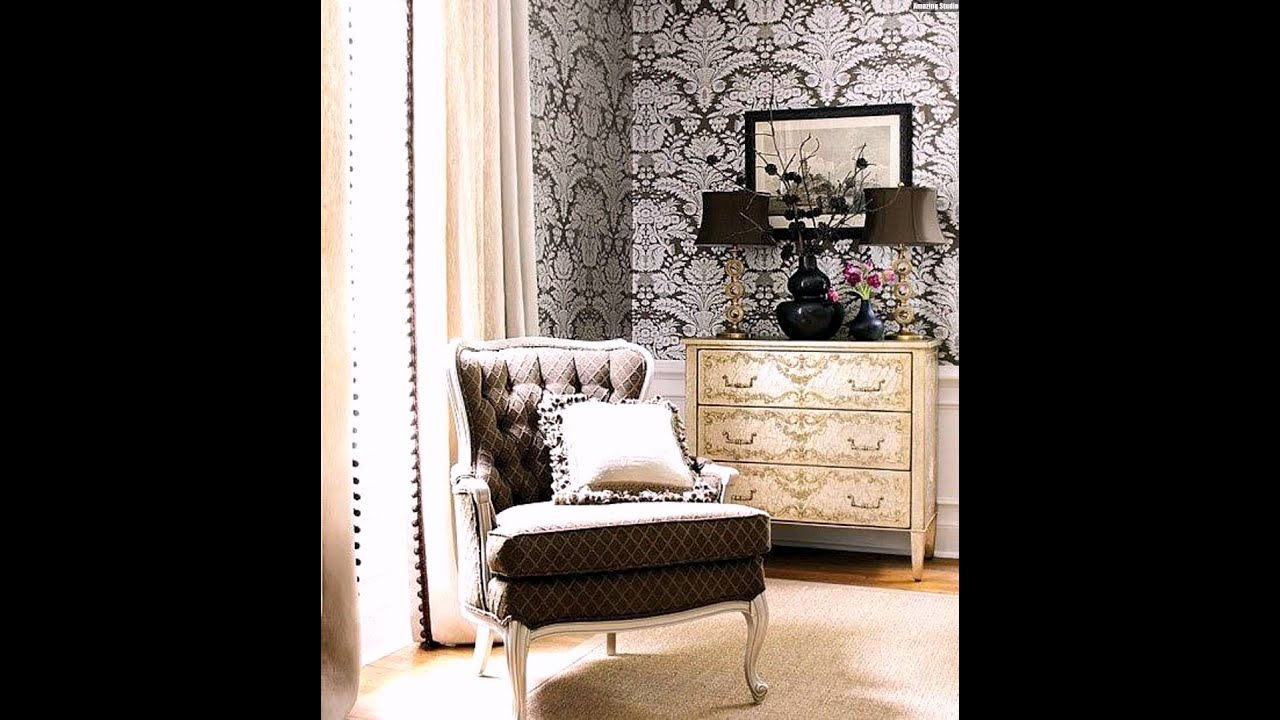 vintage stil wandgestaltung im wohnzimmer mit tapeten youtube. Black Bedroom Furniture Sets. Home Design Ideas