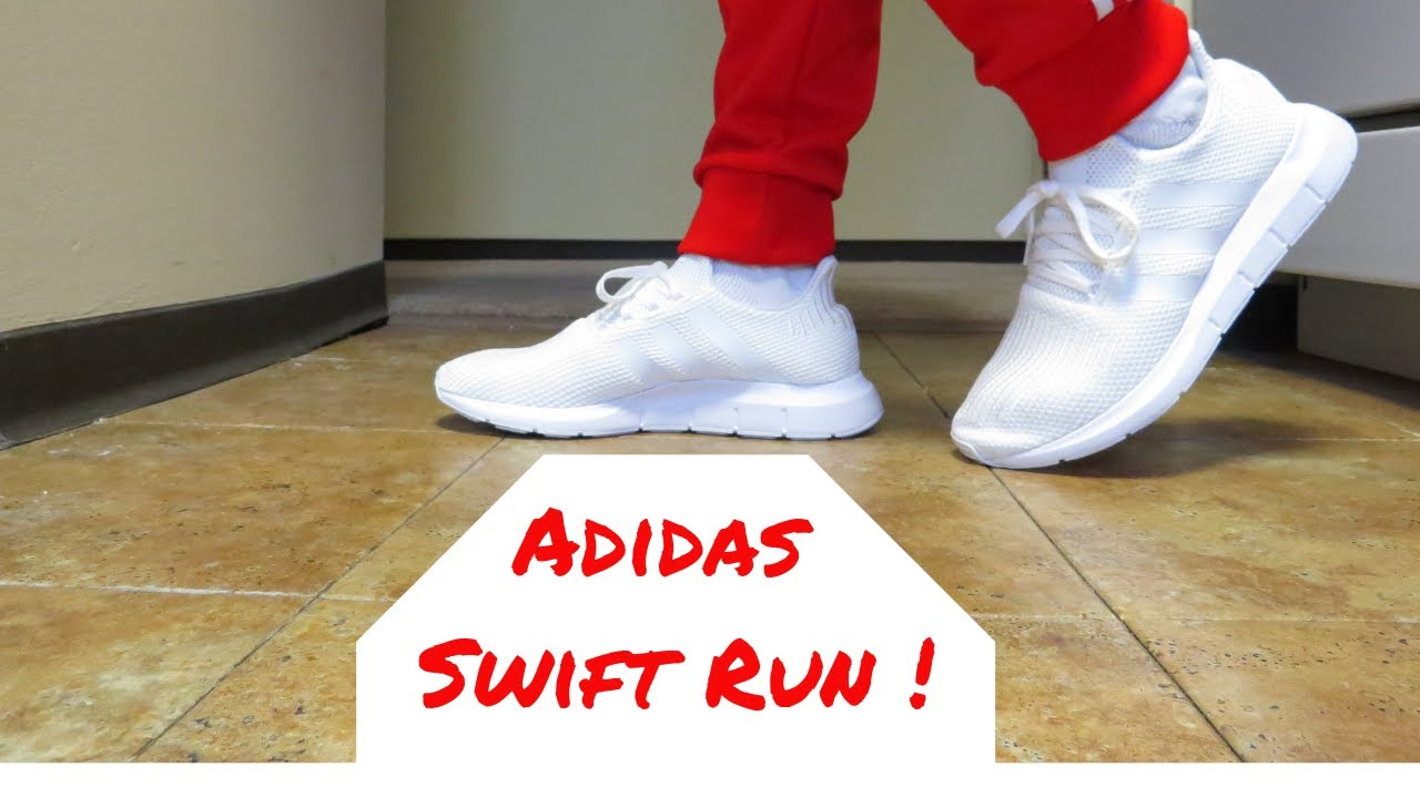 e82f4e7bfd270 Triple White Adidas Swift Run I Unboxing Review   Try On - YouTube