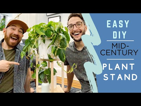 EASY DIY MID-CENTURY PLANT STAND ONLY USING GLUE